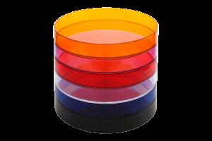 Kolorowe, okrągłe tace kelnerskie