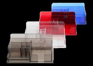 Kolorowe wielokomorowe organizery na biurko model MAX