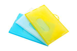 Colourful hard plastic card holders K1